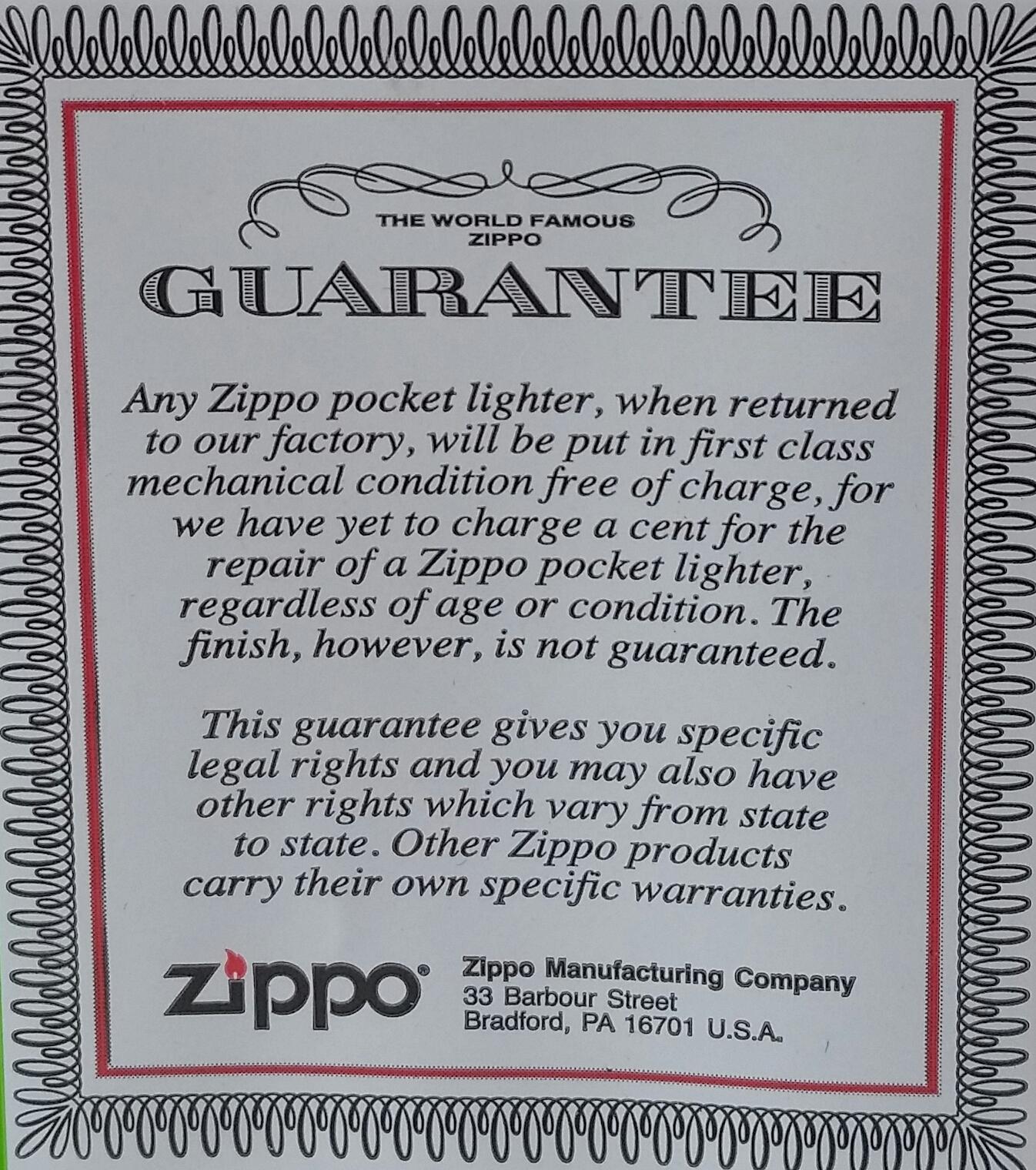 Zippo Guarantee