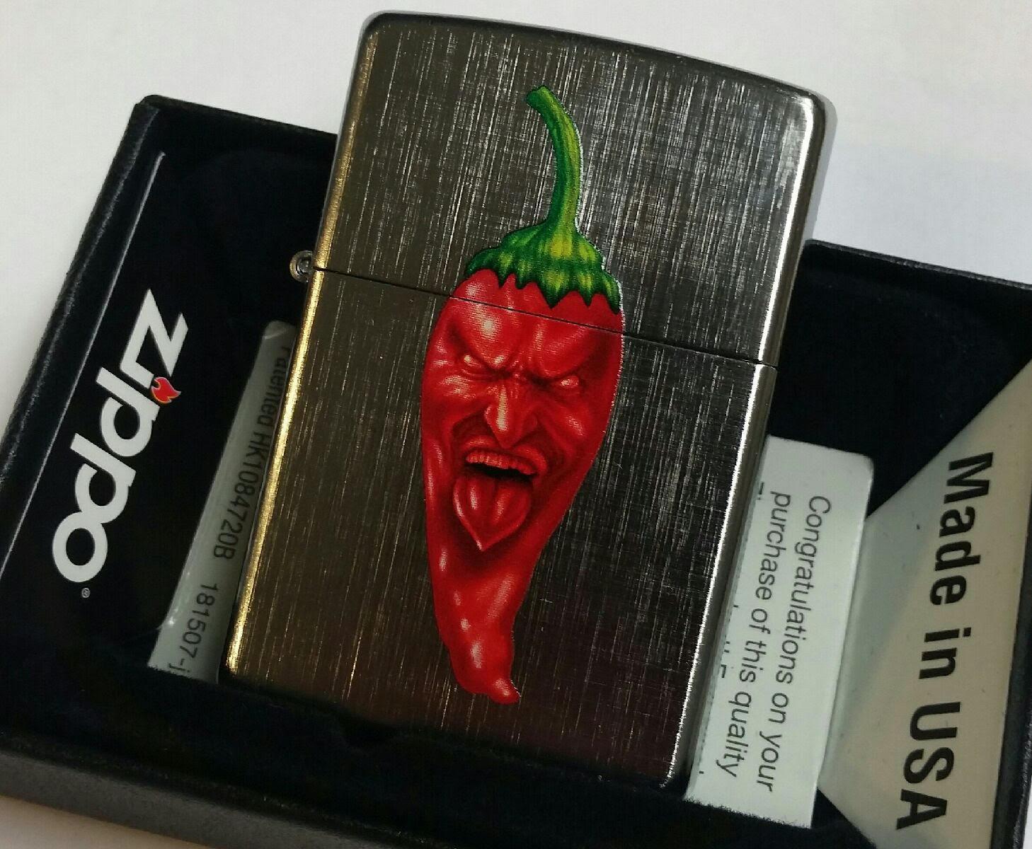 Zippo PIPE lighter Skull Hot Pepper Linen Weave Finish Case NEW IN
